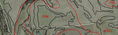 Map of farmland showing soils data.