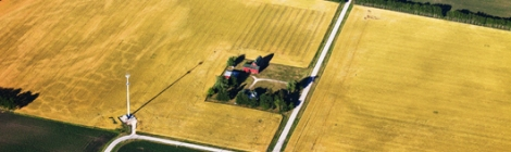 Aerial view of farmland.